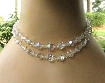 Double Strand Crystal Choker - Vintage 1960's Aurora Borealis Beaded Necklace - Rhinestone Silvertone Hook Clasp (14-15 Inches)