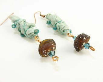 Sari Silk Cacoon Wire Wrapped Handmade Crystal and Lampwork Earrings - Prima Donna Beads