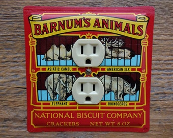 vintage circus animal zoo decor decorative outlet cover covers made from an old barnum animals crackers beaded venetian bronze wall plate