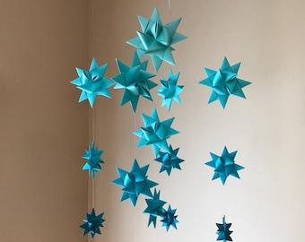 Origami Paper Star Mobile -'Milky Way' Ombre Aqua/Teal