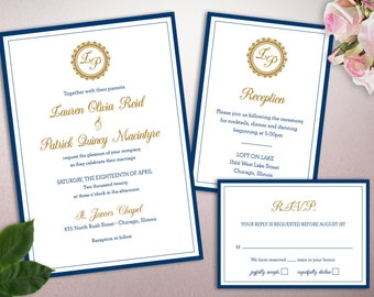 Classic Seal Monogram Wedding Invitation