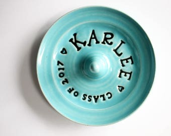 Custom Made, Personalized Ring Dish - Great for Graduation or Birthday -  Colorful Stamped Ring Bowl
