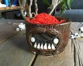 Stoneware Sasquatch yarn bowl