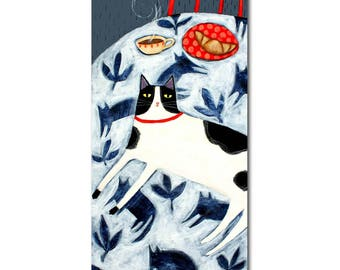 LARGE cat painting Tuxedo cat on tablecloth ORIGINAL acrylic painting big painting kitchen art cat folk art painting by Tascha