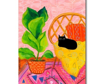 Black cat painting ORIGINAL cat with fig leaf plant folk art original acrylic painting boho decor wall art by Tascha