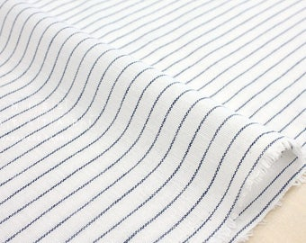Japanese Fabric - yarn dyed stripes - navy blue, white - 50cm