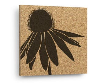 CONE FLOWER Mix & Match Floral Cork Decor Art Tiles Or Kitchen Trivet - Wall DéCork