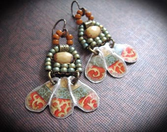 Tin Earrings, Frida kahlo Inspired, Repurposed Tin Earrings, Gyspy Earrings