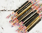 Sprinkle Stick Toss Wands - Confetti, Rice, Alternative  - Rainbow Wedding Exit - Gold Foil - Custom Names - 25 individual send off tubes