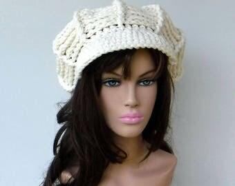 Aran Newsboy hat, fisherman cream Visor Beanie, Newsboy cap, chunky slouchy beanie with bill, billed slouch hat, thick visor hat, women men