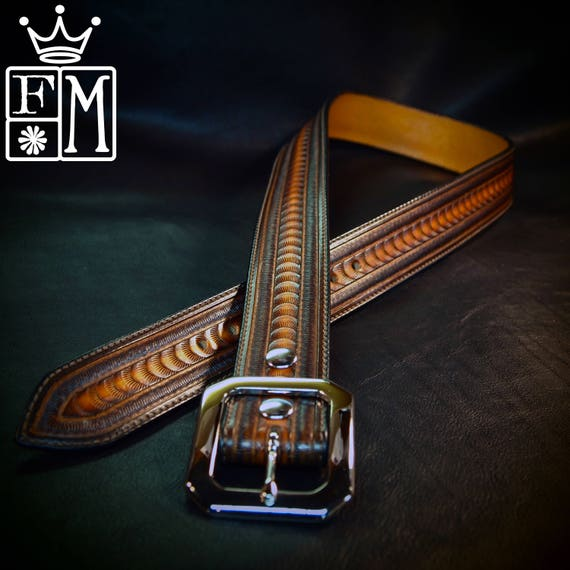 Leather belt stamped and tooled Rich sunburst finish made for YOU in New YorkC USA by Freddie Matara