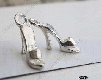 2 pcs - 3D High Heel Slipper Shoe Sterling Silver Charm F91