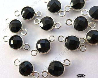 6 pcs Tiny 6mm Black Onyx Stone Tiny Sterling Silver Bezel Connectors F391S