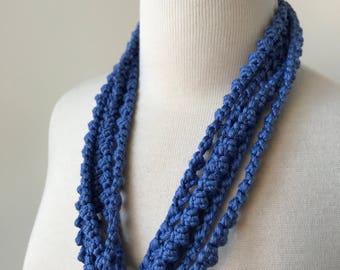 Multi Strand 100% Silk Textile Necklace in PERIWINKLE BLUE, Fiber Art Jewelry, Statement Necklace, Natural, Unusual, Boho, Elegant, Unique