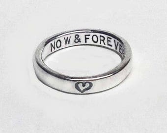Sale Now & Forever Heart Posey Ring Secret Message