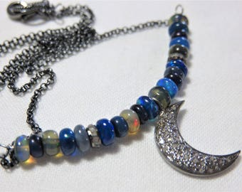 """Oxidized Sterling Silver Diamonds """"Moon"""" Pendant, Diamond Spacers, Oxidized Sterling Silver Chain and Natural Black Opal Beads Necklace"""
