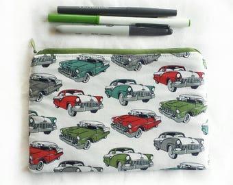 classic cars zipper pouch, SECONDS, pencil or toiletries travel bag, ID# ZP15