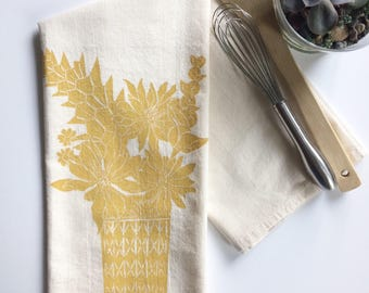 Ball Jar and Flowers Block Printed 100% cotton Flour Sack Towel- Original Floral Design