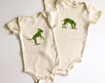 Dog Organic Cotton Short Sleeve Onesie_ made in Seattle-Baby shower gift