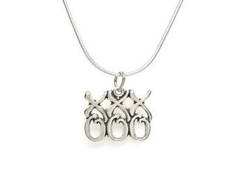 SALE xoxoxo Hugs and Kisses Sterling Silver Pendant Charm Customize no. 2147