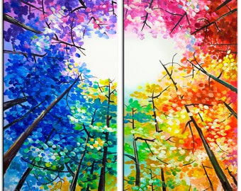 Sale Original Landscape painting Forest skyline Art multi colors on gallery wrap canvas Ready to hang by tim Lam 48x48