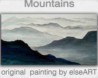 Art OIl painting Original modern landscape mountain skyline black and white painting by Tim Lam 48 X 24