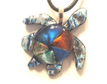 Dichroic Glass Turtle Pendant,jewelry,sea turtle,holiday gift for her