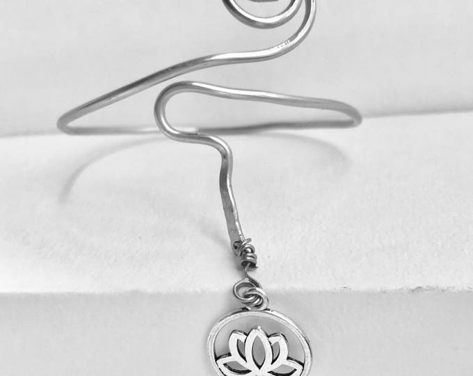 Lotus Arm Cuff *Lotus Jewelry *Boho Jewelry *Silver Arm Cuff *Boho Arm Cuff* Lotus Arm Cuff *Dangle Bracelet