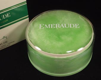 Vintage Emeraude Dusting Powder and Puff Coty 4 oz. New in Box Sealed Pfizer NY Blended in USA Vanity Collection Display 1960s
