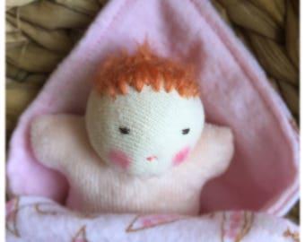 baby shower gift, waldorf dolls, small doll, germandolls, swaddling blanket, pink baby, cloth doll,redhead