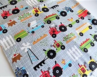 Cotton Kids Childrens Nursery Tractor Farm Eqiupment Print Fabric