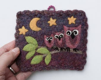 Wall hanging felted violet wool fiber art hand knit with needle felted owls tree stars