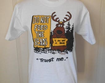 80s Vintage Yellowstone National Park  tourist  tee t shirt shirt  Made in USA         deer bear funny cute
