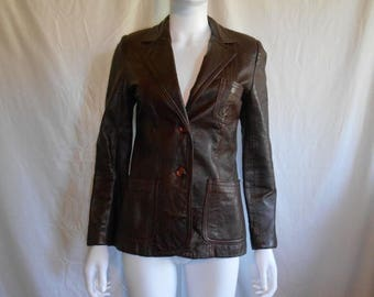 Closing Shop 40%off SALE 70s Women's Leather Brown Jacket