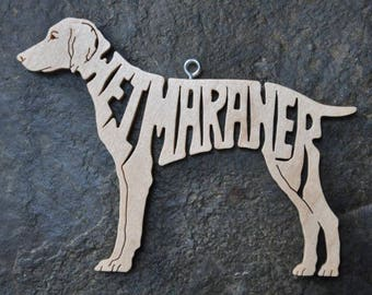 Weimaraner Dog Ornament Lettered  Wooden Toy Hand Cut with Scroll Saw