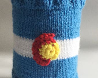 French Press Cozy Cafetiere Cosy Hand Knitted Colorado flag for 8 cup french press