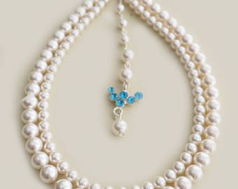Wedding Necklace Bridal Jewelry Swarovski Pearl Back Drop Necklace Blue Crystal 2 Strands Pearl Choker Statement for Brides Bridesmaids