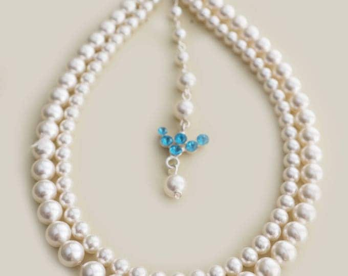 Swarovski Pearl Necklace with Back Drop Blue Crystal