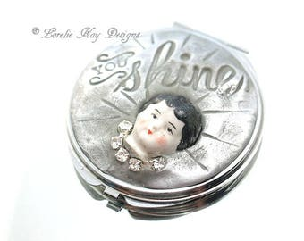 You Shine Mirror Magnifying Purse Mirror Mixed Media China Doll Face One-of-a-Kind Lorelie Kay Original