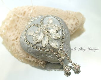 Rhinestone Encrusted Heart Ornament Silver Shabby Heart Decoration Mixed Media Sculpture Lorelie Kay Original
