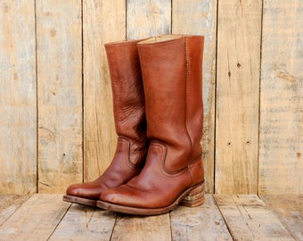 1970s Vintage Boots, Us 11, Uk 9, Eu 42, Campus Boots, Frye Boots, Brown Leather Boots, Brown Cowboy Boots, Brown Western Boots, USA