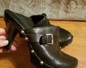 SALE Black Studded Clogs with High Heel, 6.5 6 1/2, Leather Upper