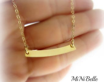 Tiny Gold Curved Bar Necklace. Bar Necklace. Dainty Bar Gold Necklace. Friendship. Bridesmaids. Mom Gift