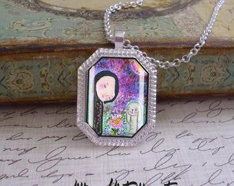 Friends, octagonal pendant, original art, mixed media, art pendants, only 5 pendants made of each design,bunnies, whimsy,birds
