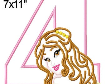 Princess Bella 4 Birthday Machine Applique Design Embroidery Pattern 5x7 6x10 7x11 INSTANT DOWNLOAD