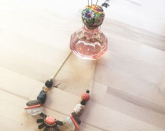 Florence Necklace Mixed Media Crystal Stone & Vintage Beads Statement Necklace