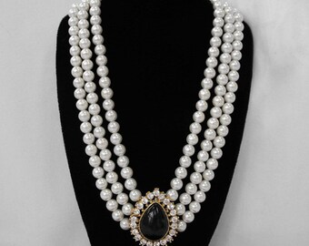 Vintage Necklace, Faux Pearls, Amethyst Glass Cabochon, Rhinestones, ca 1980s NT-1183