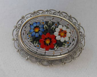 Vintage Brooch, Micro Mosaic, Italy, Rhodium Plated, ca 1960s NT-1353