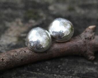 Sterling Silver Stud Earrings ... organic shape 8mm sterling post earrings