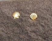 Vintage Tiny Gold Seashell Post Earrings Studs